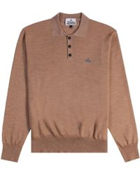 Vivienne Westwood - Classic Long Sleeve Polo Shirt Beige - Lyst