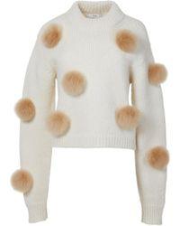 Lyst Tibi Alpaca Pom Pom Cropped Sweater In White