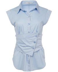 Tibi - Satin Poplin Sleeveless Shirt With Removable Corset - Lyst