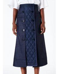 ed04ab280a Tibi Draped Midi Pencil Skirt in Blue - Lyst