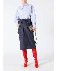 Tibi - Tweed Stripe Paperbag Skirt With Detachable Straps - Lyst