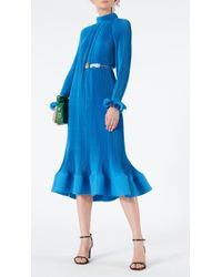 Tibi - Pleated Dress With Removable Belt - Lyst