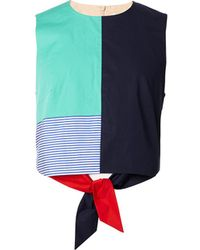 Tibi - Color Block Tie Back Top - Lyst