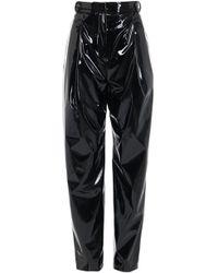 Tibi - Patent Sculpted Pleat Pants - Lyst