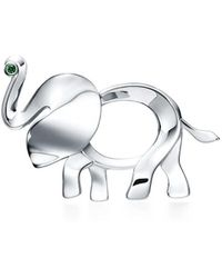 Tiffany & Co   Tiffany Save The Wild Elephant Brooch In Silver With A Tsavorite, Medium   Lyst