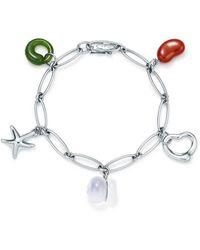 """Tiffany & Co. - Elsa Peretti. Five-stone Charm Bracelet In Sterling Silver - 825"""" - Lyst"""