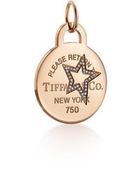 Tiffany & Co. - Return To Tiffanytm Etched Star Round Tag Charm In 18k Rose Gold With Diamonds - Lyst