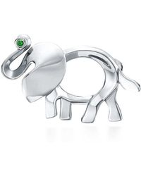 Tiffany & Co   Tiffany Save The Wild Elephant Brooch In Silver With A Tsavorite, Small   Lyst