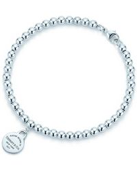 Tiffany & Co. - Return To Tiffanytm Mini Round Tag In Sterling Silver On A Bead Bracelet - 65 In - Lyst