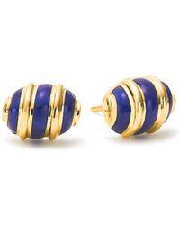 Tiffany & Co. - Tiffany & Co Schlumberger Olive Earrings In 18k Gold With Blue Enamel - Lyst