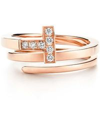 Tiffany & Co. - Tiffany T Square Wrap Ring In 18ct Rose Gold With Diamonds - Size 5 1/2 - Lyst