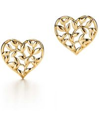Tiffany & Co. - Paloma Picasso. Olive Leaf Heart Earrings In 18k Gold - Lyst