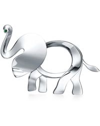 Tiffany & Co. - Tiffany Save The Wild Elephant Brooch In Silver With A Tsavorite, Large - Lyst