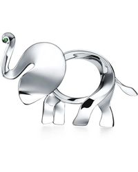 Tiffany & Co. - Tiffany Save The Wild Elephant Brooch In Silver With A Tsavorite, Extra Large - Lyst