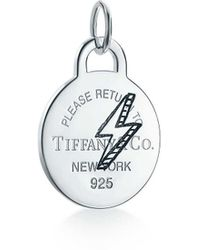 Tiffany & Co. - Return To Tiffany. Etched Lightning Bolt Round Tag Charm In Sterling Silver - Size Lightening Bolt - Lyst