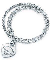 Tiffany & Co. - Return To Tiffanytm Double Chain Heart Tag Bracelet, Small - Lyst