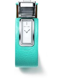 Tiffany & Co. - Tiffany T 2-hand 33 X 16 Mm Watch In Sterling Silver And Tiffany Blue. Leather - Lyst
