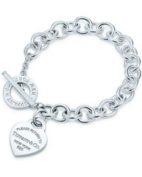 Tiffany & Co. - Heart Tag Toggle Sterling Silver Small Bracelet - Lyst