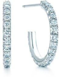 Tiffany & Co. - Tiffany Metro Hoop Earrings In 18k White Gold With Diamonds, Small - Lyst
