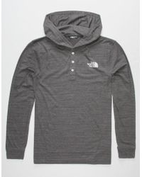 The North Face - Triblend Henley Black Mens Lightweight Hoodie - Lyst
