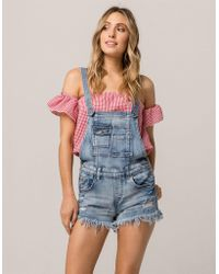 Almost Famous - Fray Denim Womens Shortalls - Lyst