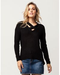 Say What? - ? Cross Front Womens Sweater - Lyst