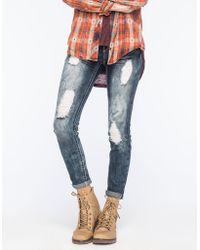 Almost Famous - Premium Destroyed Womens Skinny Jeans - Lyst