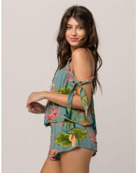 f58c66ef5e2be3 Lyst - Old Navy Relaxed Off-the-shoulder Swing Top in Green