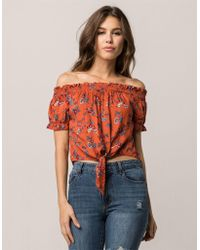 Mimi Chica - Tie Front Womens Off The Shoulder Top - Lyst