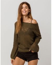 Billabong - Rolled Up Womens Off The Shoulder Sweater - Lyst