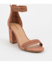 Bamboo - Ankle Strap Mauve Womens Heeled Sandal - Lyst