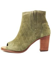 TOMS - Majorca Peep Toe Bootie Tarmac Olive Suede Quilted - Lyst