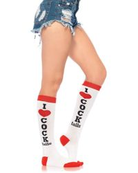 Leg Avenue - Cocktails Acrylic Knee Socks In White/red - Lyst