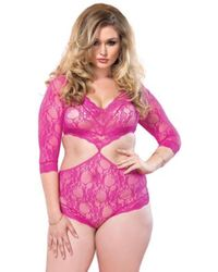 67533cfbfeb Leg Avenue Floral Lace Deep-v Halter Teddy With Heart Shaped Cheeky ...