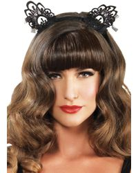 Leg Avenue - Venice Lace Cat Ears With Organza Bows In Black - Lyst