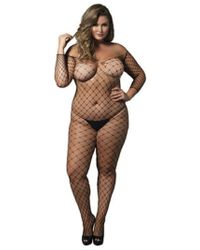 6abc2a4ba7 Leg Avenue - Fence Net Off The Shoulder Bodystocking. Long Sleeved Plus Si  Black -