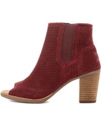 7402dc9e1b6 Lyst - TOMS Oxblood Burnished Suede Women s Lunata Lace-up Booties