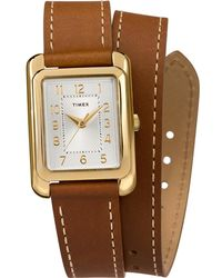 Timex - Watch Addison 25mm Double Wrap Leather Strap Gold-tone/brown/silver-tone - Lyst
