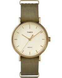 Timex - Watch Fairfield 37mm Leather Strap Gold-tone/green/cream - Lyst