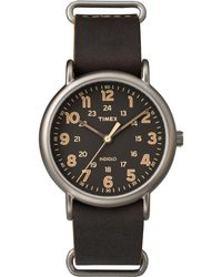 Timex - Watch Weekender 40mm Leather Strap Titanium/brown/black - Lyst