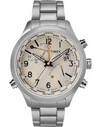 Timex Watch Waterbury World Time 43mm Stainless Steel Steel/stainless Steel/cream