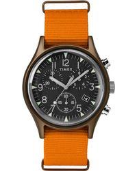Timex - Watch Mk1 Aluminum Chronograph 40mm Fabric Strap Green/orange/black - Lyst