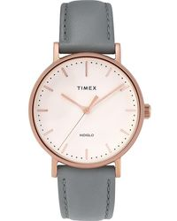 Timex - Watch Fairfield 37mm Leather Strap Rose Gold-tone/gray/cream - Lyst