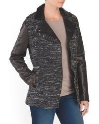 Tj Maxx - Leather Sleeve Wool Jacket - Lyst