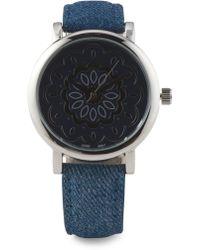 Tj Maxx - Women's Silver Tone Denim Strap Watch - Lyst