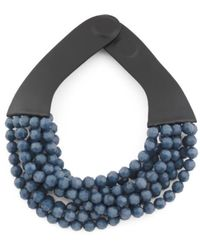 Tj Maxx | Made In Italy Leather Bella 8 Row Beaded Collar Necklace | Lyst