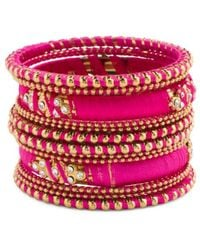 Tj Maxx - Made In India Silk Thread Crystal And Beaded Bracelet Set - Lyst