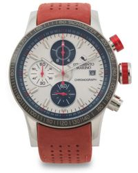 e63899ce4daf Tj Maxx - Men s Designed In Italy Admiral Chrono Leather Strap Watch - Lyst