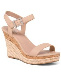 4982f28386 Lyst - Tj Maxx Snake Print Triple Buckle Wedge Sandals in Natural
