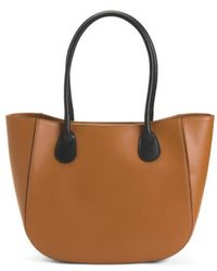 88b67af94 Lyst - Tj Maxx Made In Italy Unlined Leather Tote in Brown